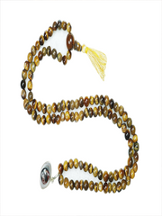 Malabeads Tiger Eye Prayer Bead Mala Agate Eye Pendant Laxmi Ganesh Yantra Sacred Geometry