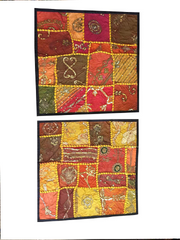 2 Colorful Indian Cushion Covers Vintage Patchwork Decorative Toss Pillow Shams 16x16
