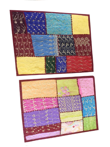 2 Indian Colorful Cushion Cover Patchwork Embroidered Cotton Square Pillow Cases 16x16