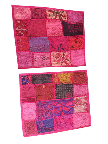 2 Pink Cushion Cover Patchwork Embroidered Cotton Square Pillow Cases 16 x 16