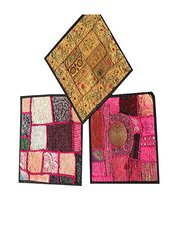 3 Sari Cushion Covers, Pink Patchwork Embroidered Cotton Square Toss Pillow Cases