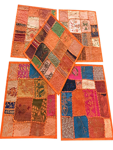 5 Ethnic Orange Sofa Throw Cushion Cover Patchwork Sequin Cotton Square Pillow Cases 16x16