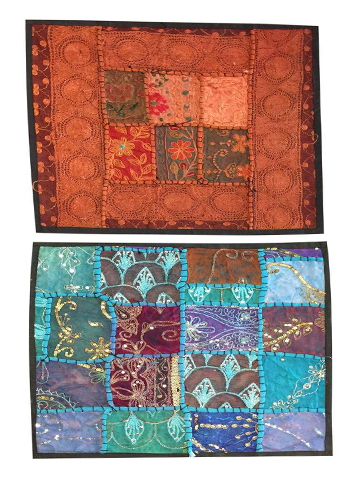 "Pillow Sham Embroidered Patchwork Throw Cushion Covers Bohemian Interior 16""X16"""