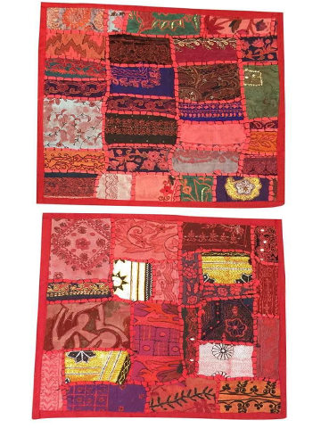 "Red Pillow Sham Embroidered Patchwork Throw Cushion Covers Bohemian Interior 16""X16"""