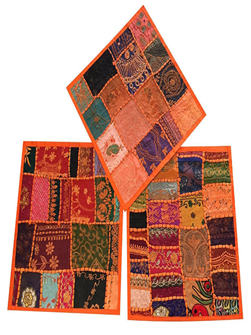 "Set of 3 Boho Decorative Indian Throw Pillow Cases Cotton Orange Embroidered Patchwork Cushion Cover 16"" x 16"""