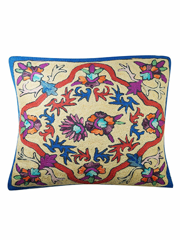 "Sofa Cushion Covers Colorful Suzani Embroidered Handmade Indian Toss Pillow Sham 16"" x 16"""