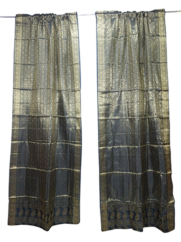 2 Indian Curtains, Black Gold Sari Drape Panels, Rod Pocket Curtains Boho Home Decor 96 inch