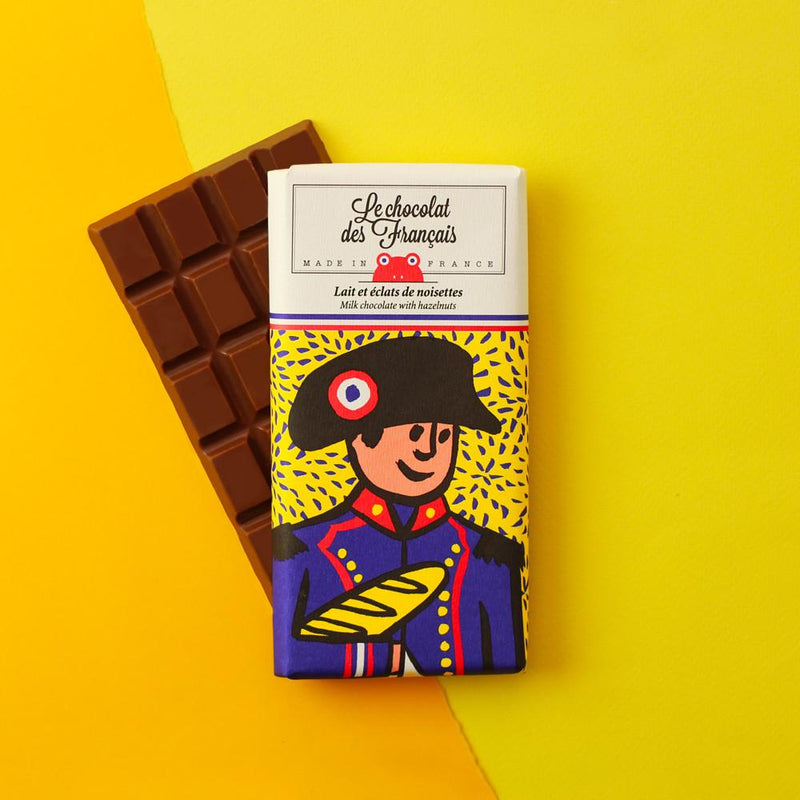 Le Chocolat Des Français - Organic Milk Chocolate With Hazelnuts 80g Bar (41% Cocoa) Napoleon