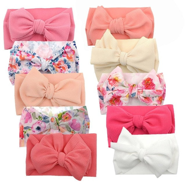 10Pcs/lot Big Bow Baby Headband For Girl Wide Ribbed Nylon Headband,Newborn Headwrap Toddler Headband,Kids Baby Hair Accessories