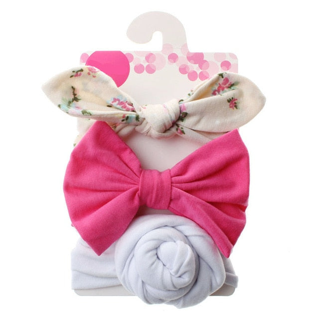 3 Pcs/Set Floral Bows Baby Headband Dot Bowknot Haarband Baby Girl Headbands Cotton Kids Hair Band Girls Hair Accessories