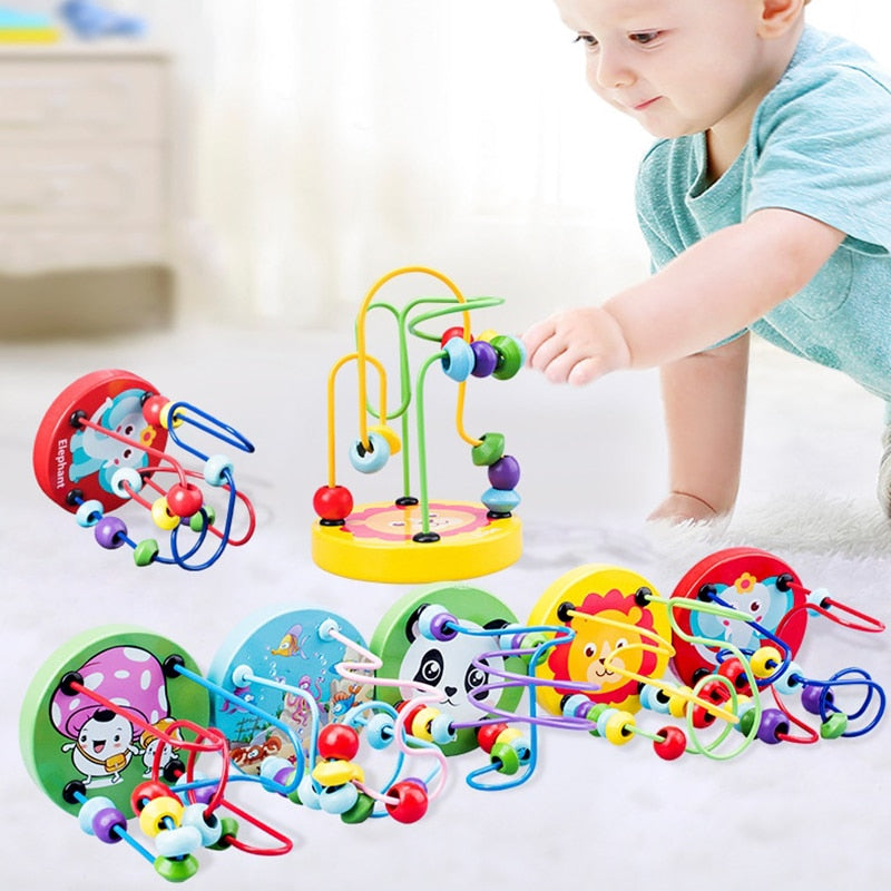 Montessori Wooden Toys Wooden Circles Bead Wire Maze Roller Coaster Educational Wood Puzzles Boys Girls Kid Toy 6+ Months