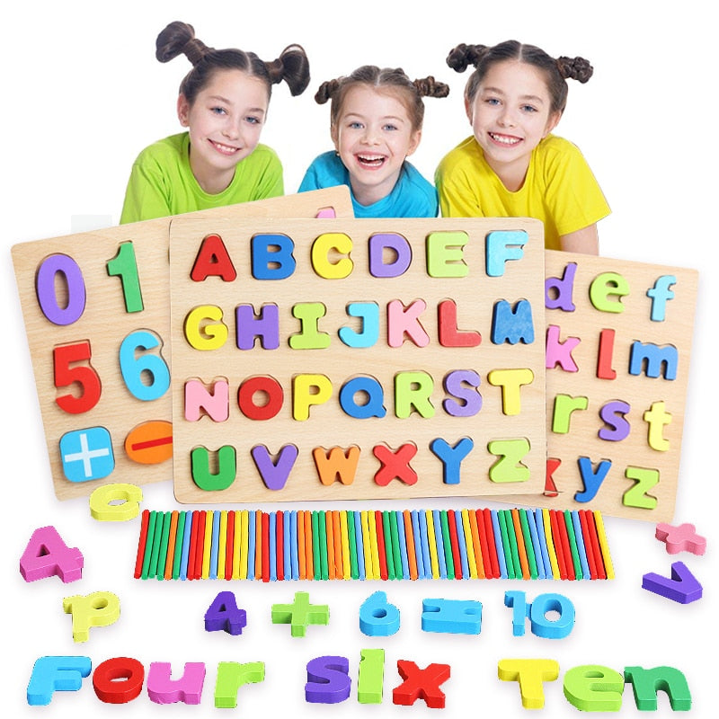 Kids 3D Wooden Puzzles Toys Alphabet Number Puzzle Baby Colorful Letter Digital Geometric Montessori Educational Toy
