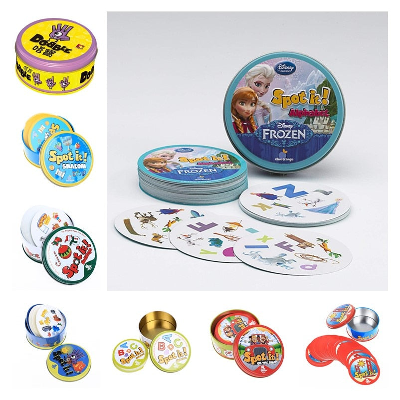New Frozen HP spot it and dobble card game table Board Game For Dobbles Kids Spot Cards It Go Camping Metal Tin Box toys