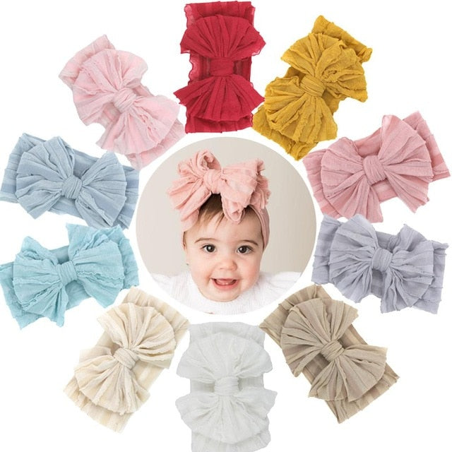 1Lot Solid Flower Print Nylon Headband for Baby Girls Turban Knotted Headwear Newborns Photography Props Baby Hair Accessories