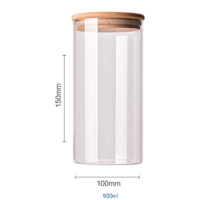 Food Container Bamboo Covered High Borosilicate Food Sealed Glass Tank Kitchen Miscellaneous Grain Storage Boxes