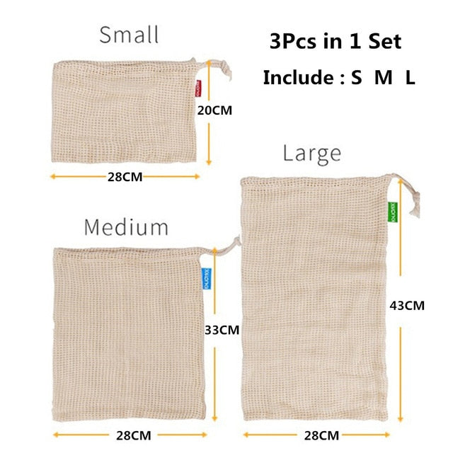 3pcs Reusable Cotton Mesh Produce Bags for Vegetable Fruit Kitchen Reusable Washable Grid Storage Bag With Drawstring 3 Sizes