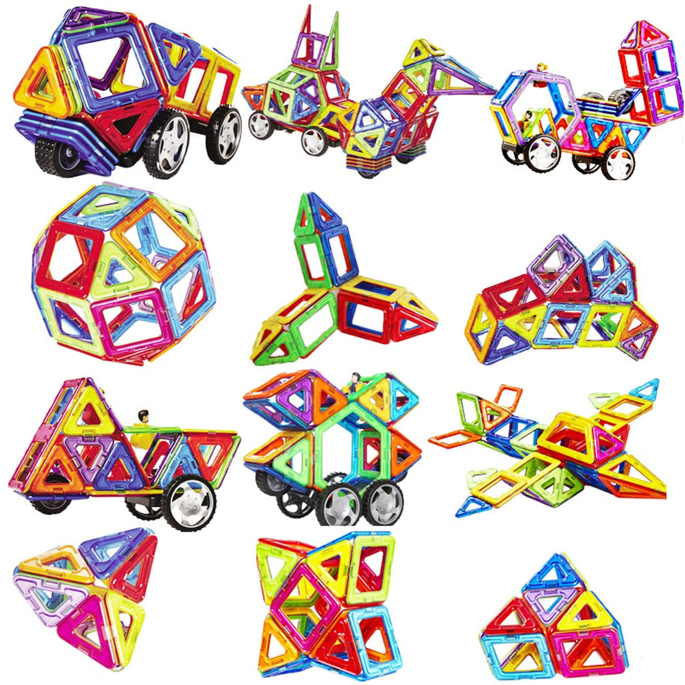 10-149pcs Big Size Magnetic Blocks Educational Construction Toys Building Set Magnet Designer Tiles Kit For Kids gift