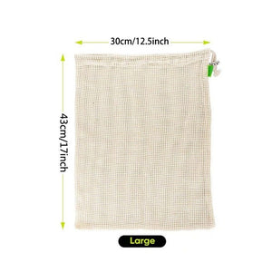 Vegetable Fruit Bag  storage Bag Reusable Produce Bags  Eco-Friendly  100% Organic Cotton Mesh Bags  Bio-degradable Kitchen