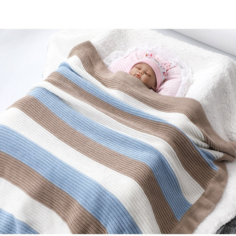 Baby Blanket Quilt Qomfortable And Soft Stripe Bed Sheet 70*90cm 27.56in*35.4in Cotton Yarn Knitted Stroller Blanket Newborn Kit