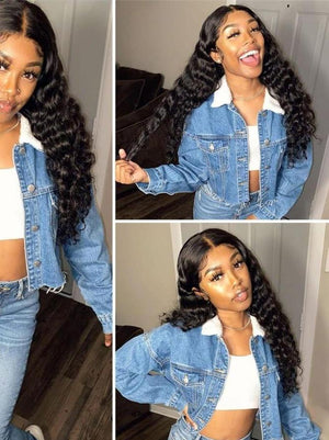 BeuMax Hairs Brazilian 13x4 Lace Front Human Hair Wigs - Deep Wave
