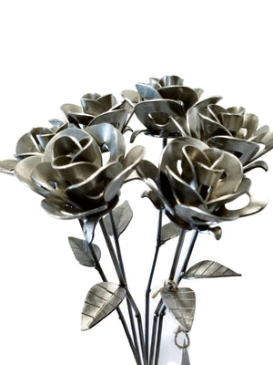 Half Dozen Metal Roses, Six Metal Roses, Welded Metal Rose Sculptures,