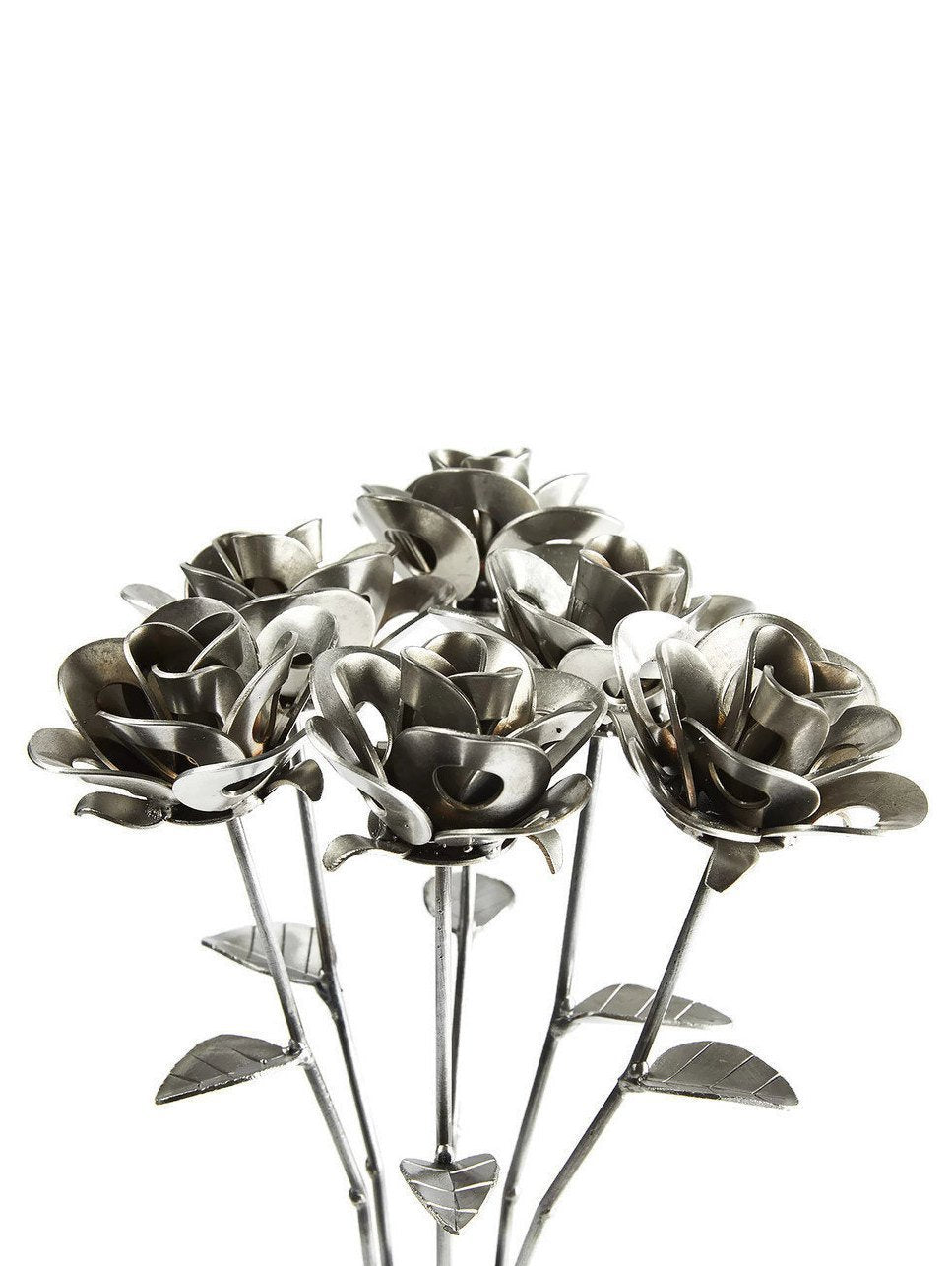 Half Dozen Metal Roses and Vase, Six Recycled Metal Roses and Vase,