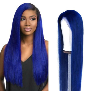 4 Colors Blue Lace Front Wig Brazilian Straight Lace Front Human Hair