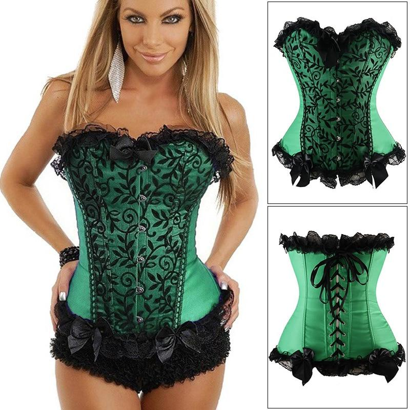 Women Steampunk Corset Top Satin Corsets And Bustiers Waist Trainer