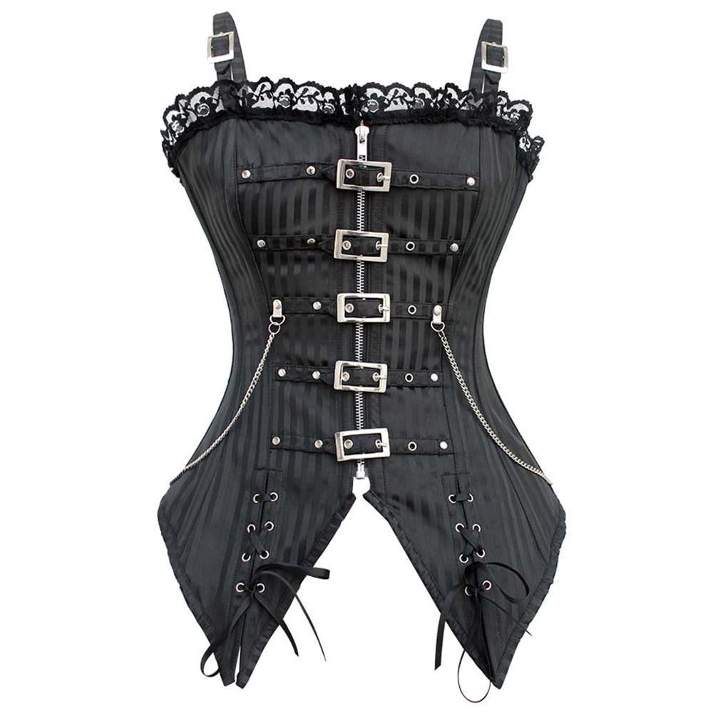 Steampunk Women Sexy Corset Bustier Buckle Zipper Lace Up Lingerie