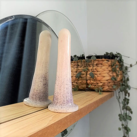 A 6 inch classic ceramic dildo in a pink and purple speckle pattern stands on a wooden shelf. The dildo is reflected in a circular mirror set into the shelf, with a hanging plant flowing from a wicker pot in the background.