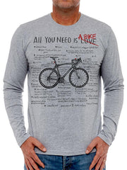 All You Need Mens Long Sleeve Grey Cycling T shirt.