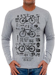 Bike Maths Mens Grey Long Sleeve Cycling T shirt