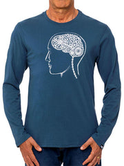Bike Brain (Denim) Long Sleeve T Shirt