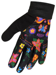 Frida Lightweight Black Floral Cycling Gloves | Cycology Clothing