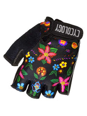 Frida Black Floral Cycling Gloves | Cycology Clothing