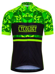 Geometric Lime Mens Relaxed Fit Cycling Jersey
