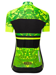 Geometric Lime Womens  Short Sleeve Cycling Jersey