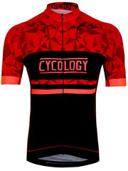 Geometric Red Mens Short Sleeve Cycling Jersey