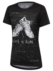Live To Run Womens Black Technical T shirt | Cycology Clothing