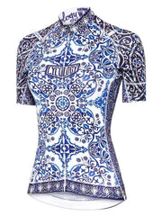 Majolica Womens Blue and White Short Sleeve Cycling Jersey | Cycology Clothing