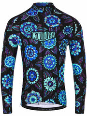 Cyco Floral Mens Long Sleeve Cycling Jersey Blue | Cycology AUS