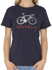RATHER BE RIDING NAVY WOMENS CYCLING T SHIRT