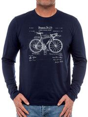 The Blueprint Mens Navy Long Sleeve Cycling T shirt
