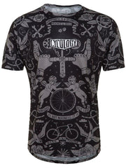 Velo Tattoo Mens Black Technical T shirt | Cycology Clothing