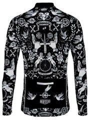 Velo Tattoo Mens Black Long Sleeve Cycling Jersey | Cycology