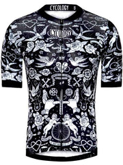 Velo Tattoo Mens  Black Race Fit Cycling Jersey | Cycology
