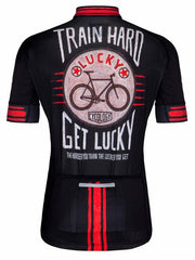 Train Hard Get Lucky Mens Black Cycling Jersey