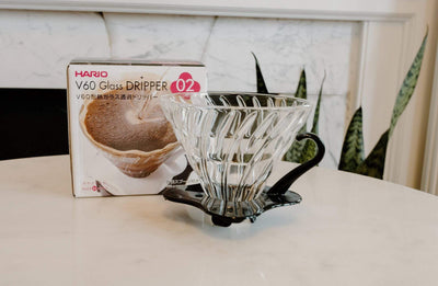 Hario V60 Glass Dripper coffee Mom 'n 'em Coffee & Wine Cincinnati Natural Wine and Coffee Shop