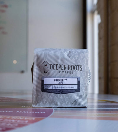 Community Coffee Blend from Deeper Roots Coffee Roasters Mom 'n 'em Coffee & Wine Cincinnati Natural Wine and Coffee Shop