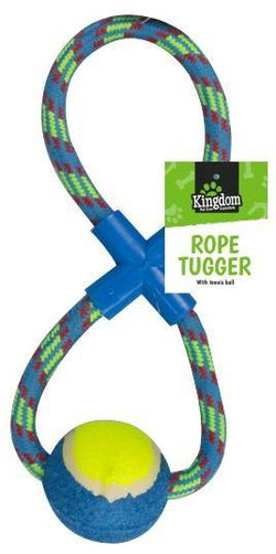 Kingdom Rope Dog Pull & Tug Toy With Ball - HomeFix